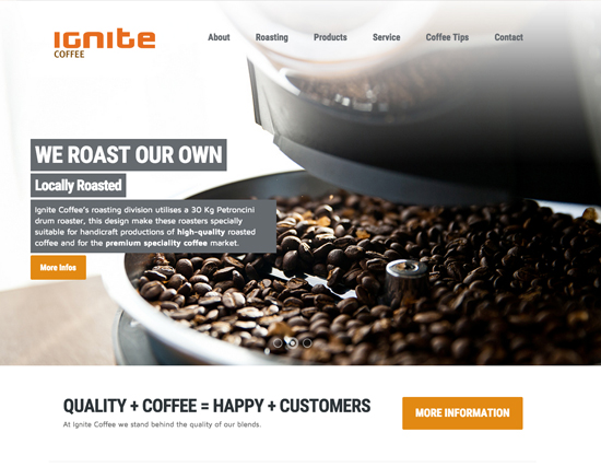 Ignite Coffee Website Development